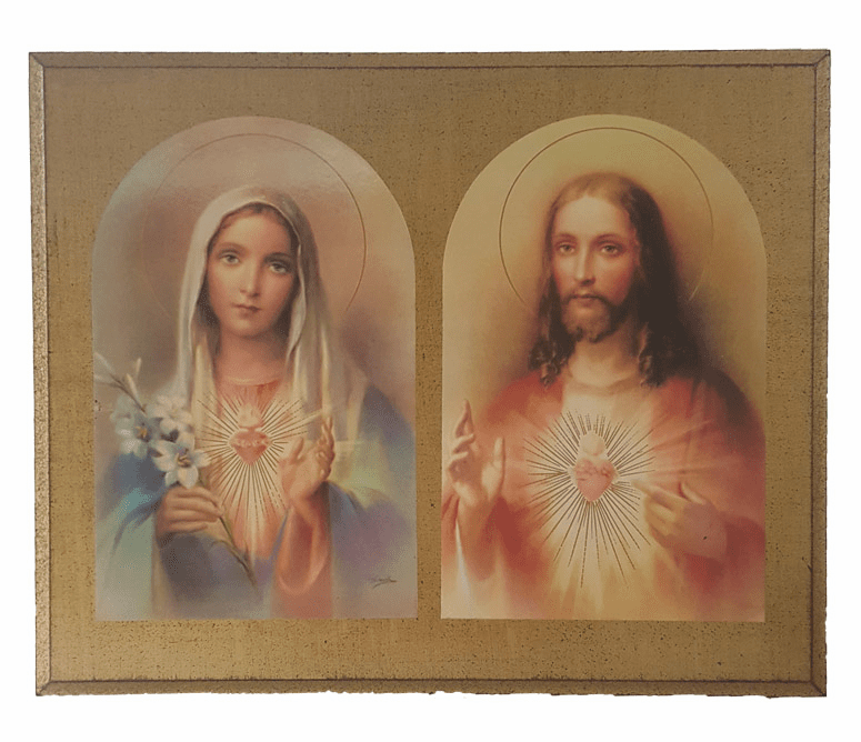 Florentine Sacred Heart of Jesus and Immaculate Heart of Mary by Guiseppe Vicentini Plaque