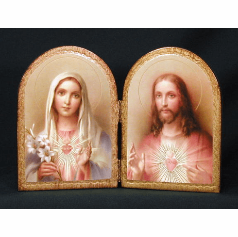 Florentine Sacred Heart of Jesus and Immaculate Heart of Mary Print Wood Diptych