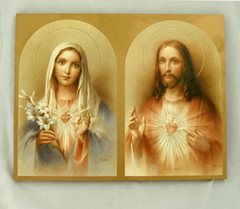 Florentine Sacred Heart of Jesus and Immaculate Heart of Mary Print Wood Wall Plaque