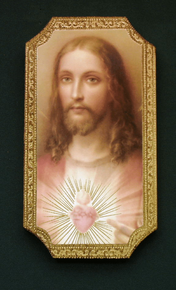 Florentine Sacred Heart of Jesus Wood Wall Plaque