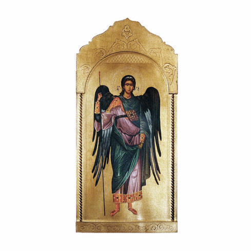 Florentine Saint Michael Archangel Wood Wall Plaque From Italy
