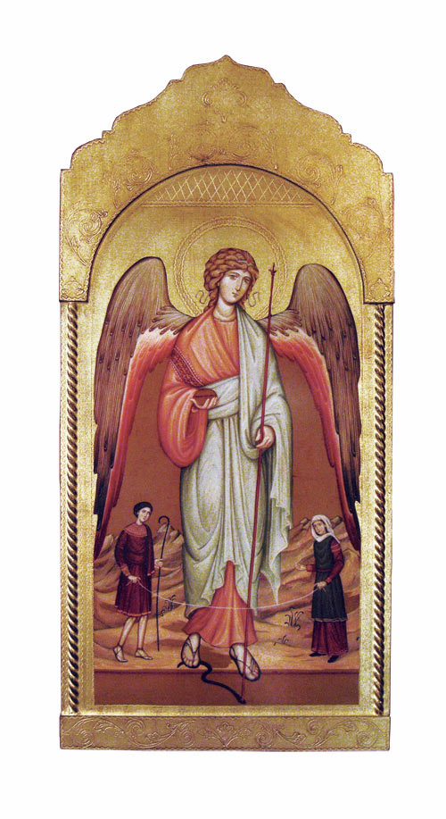 Florentine Saint Raphael Archangel Wood Wall Plaque From Italy