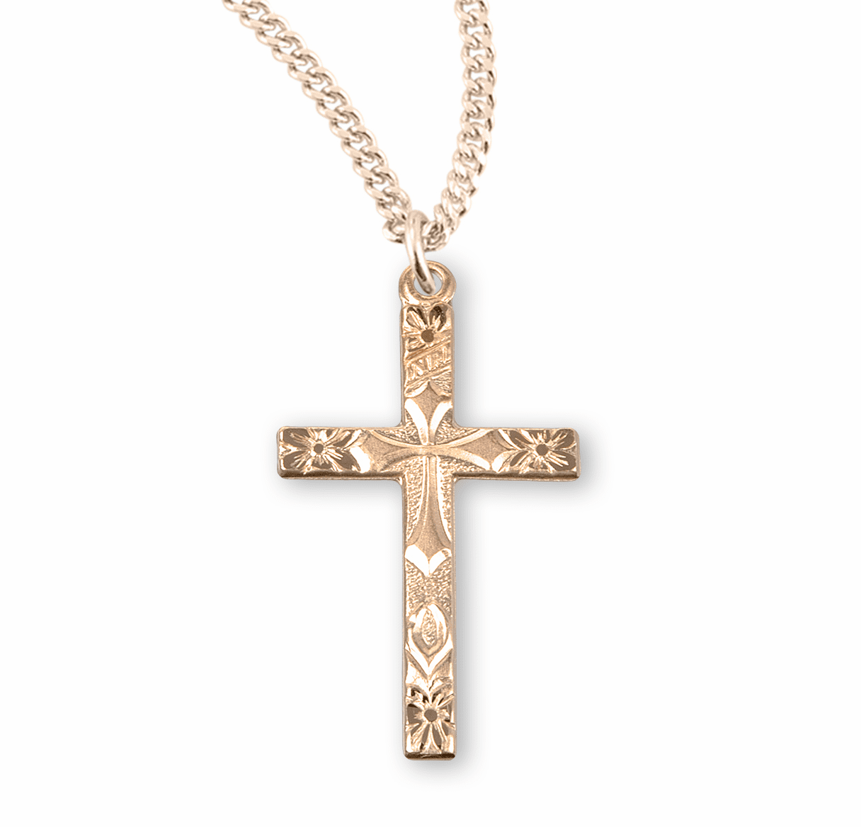 Flowered Tip Gold/Sterling Silver Cross Necklace by HMH Religious