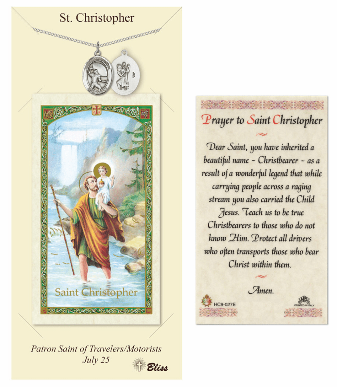 Bliss St Christopher Football Prayer Card and Pewter Necklace