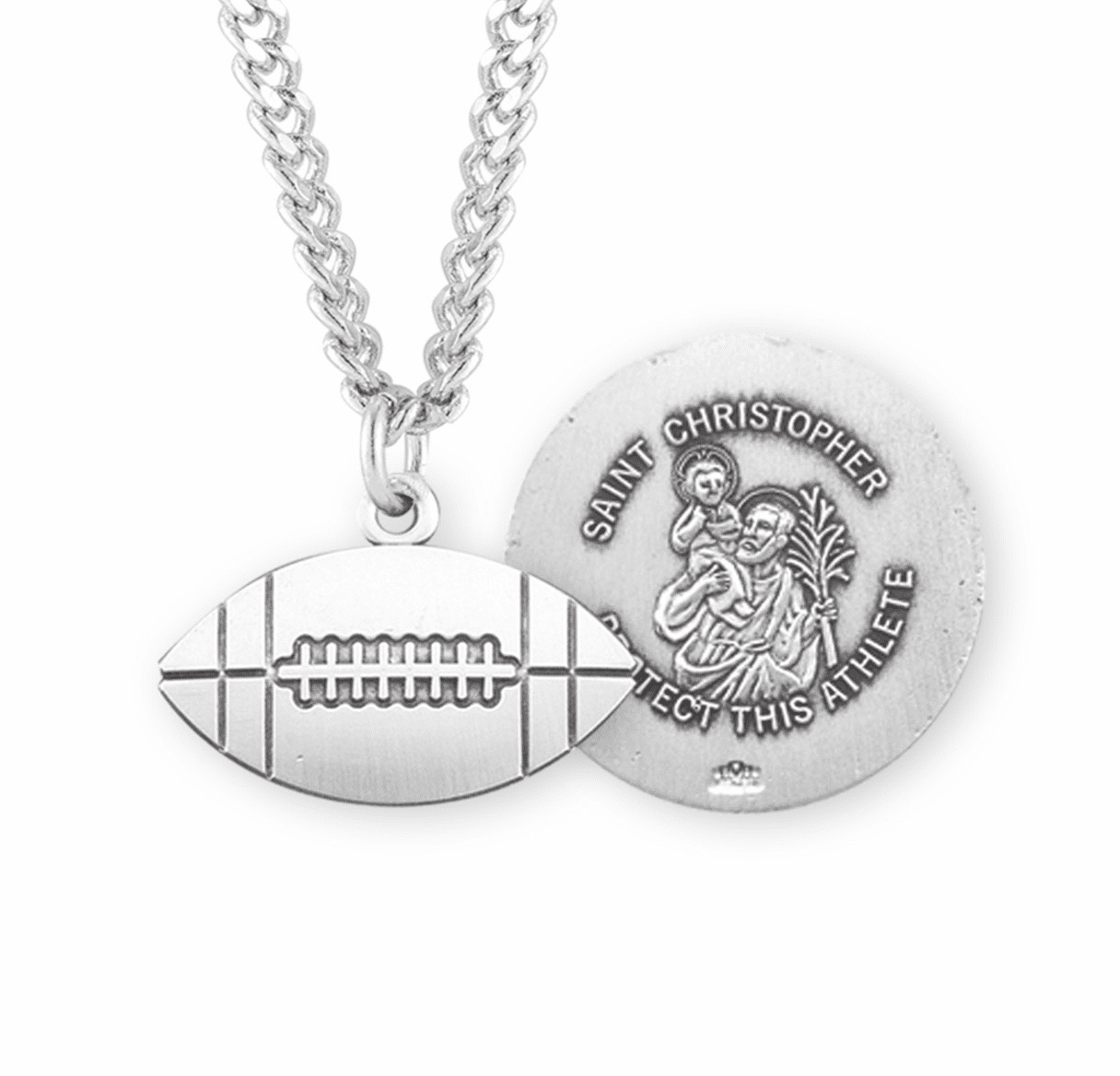 HMH Religious Football St Christopher Sterling Silver Saint Medal Necklace