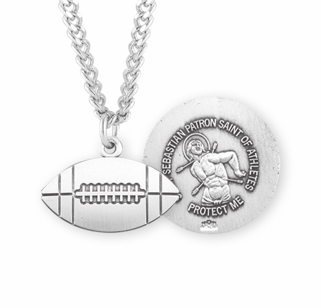 HMH Religious Football St Sebastian Sterling Silver Saint Necklace