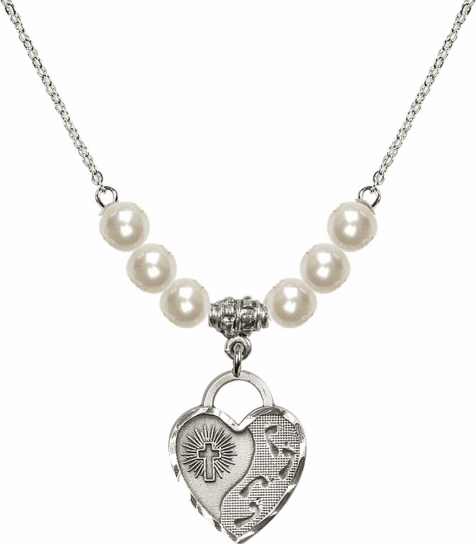 Footprints Heart 6mm Faux Pearlsl Necklace by Bliss Mfg