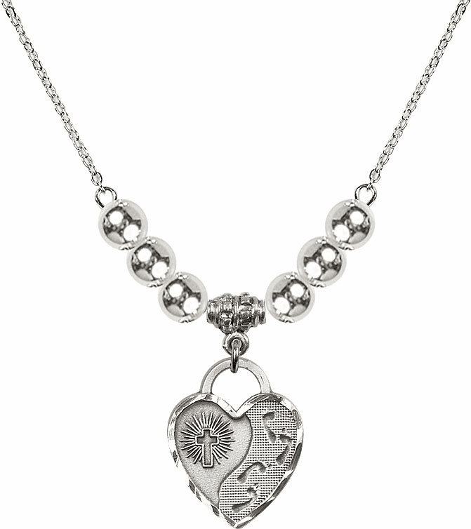 Footprints Heart Charm w/6mm Silver Beaded Necklace by Bliss Mfg