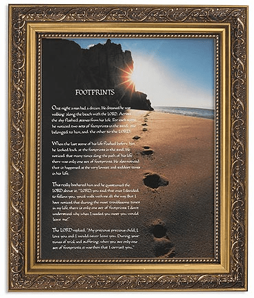 Footprints in the Sands Framed Print Picture with Gold Frame by Gerffert