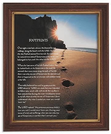 Footprints in the Sands Framed Print Picture with Woodtone Frame by Gerffert