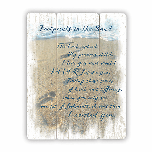 Footprints in the Sands Wood Pallet Sign by Gerffert