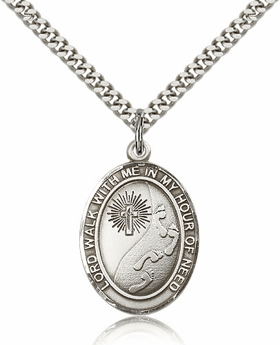 Footprints w/Cross Sterling Silver Saint Medal Necklace by Bliss Mfg