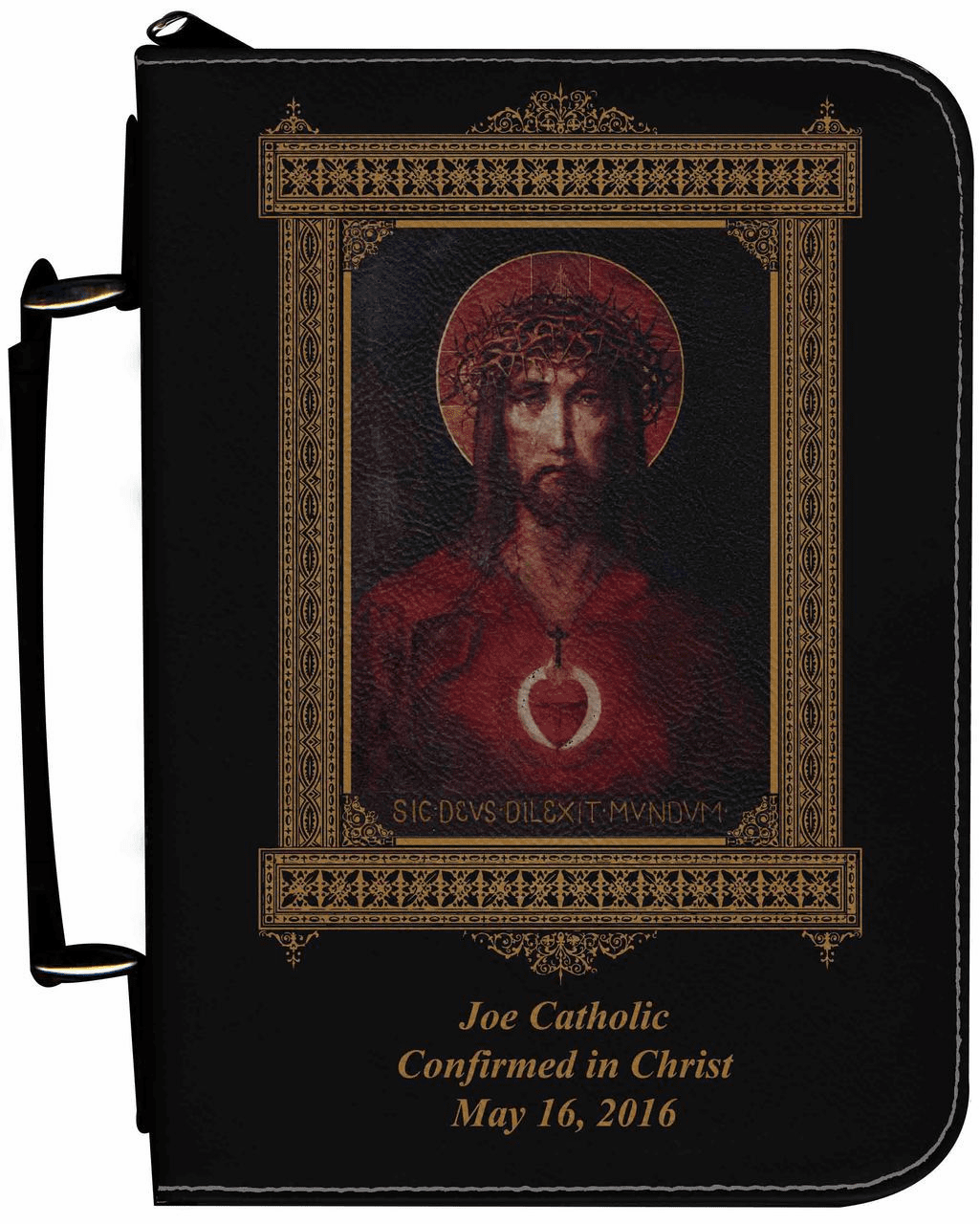 For God So Loved the World Personalized Black Catholic Bible Cover Case