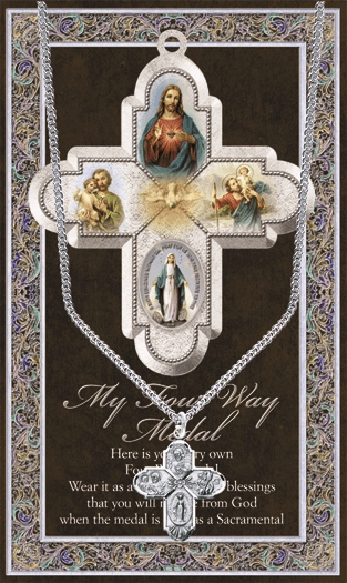Four Way Cross Pewter Medal Necklace with Prayer Pamphlet by Hirten