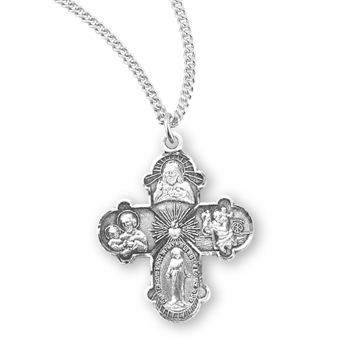 Four-Way Sterling Cross Medal Necklace w/Dove Center by HMH Religious
