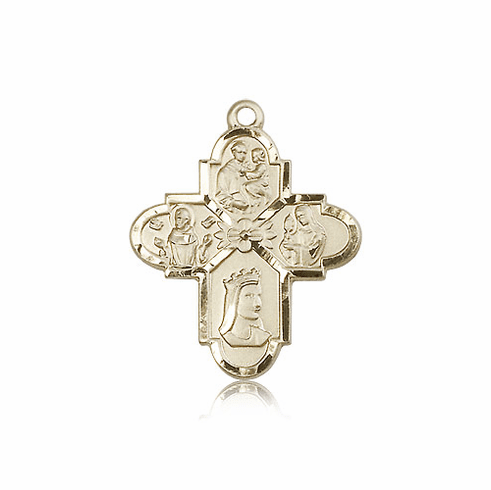 Bliss Manufacturing Franciscan 4-Way 14kt Gold Cross Medal