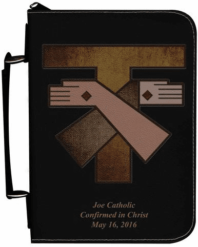 Franciscan Crest Personalized Black Catholic Bible Cover Case