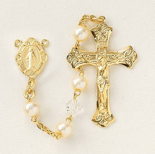 Freshwater Pearl and Crystal Gold Rosary by HMH Religious