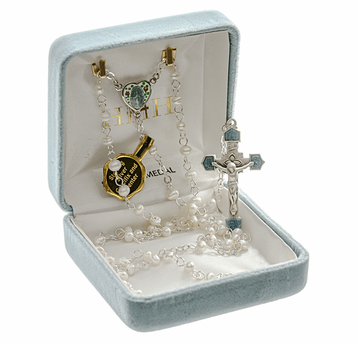 Freshwater Pearl Enameled Heart Miraculous Sterling Silver Prayer Rosary by HMH Religious