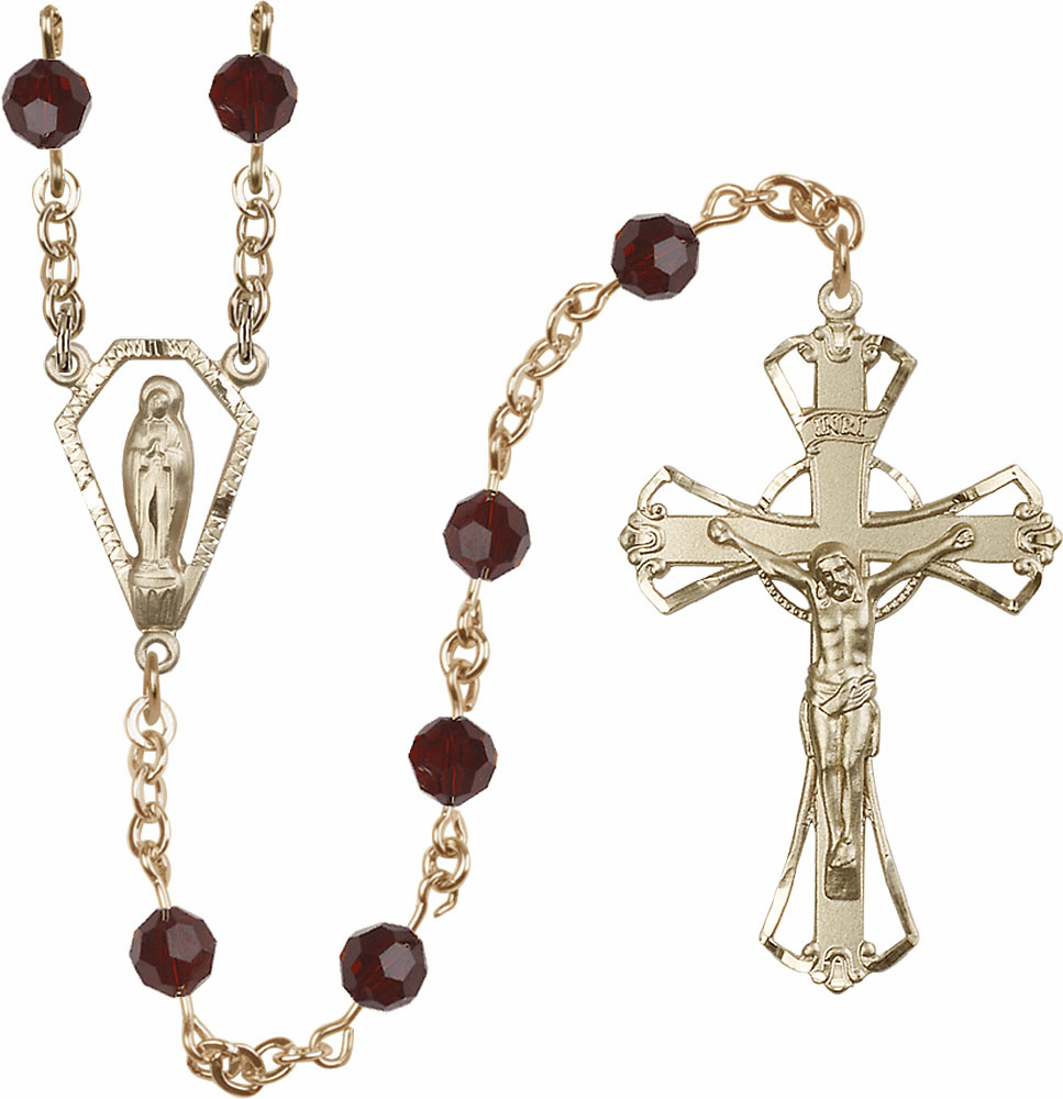 Garnet 6mm AB Swarovski 14kt Gold Praying Madonna Catholic Rosary by Bliss