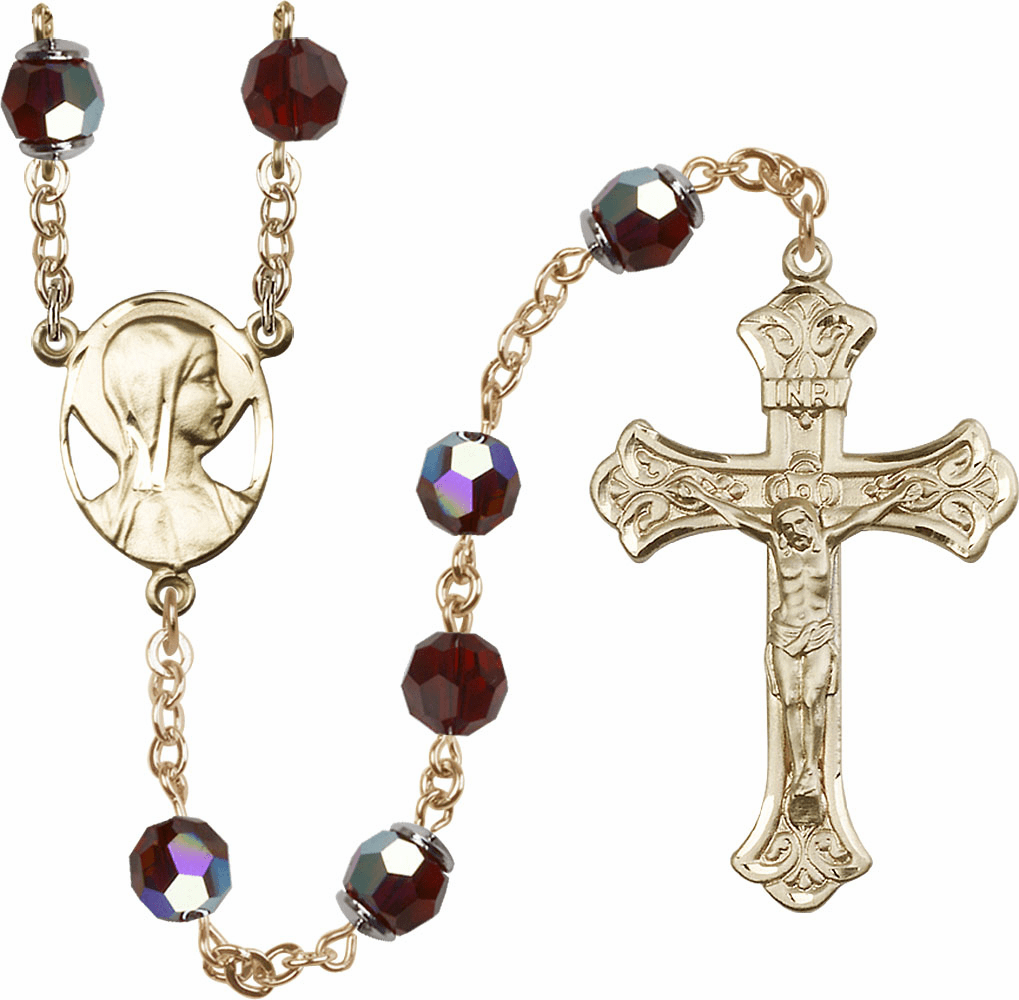 Garnet Swarovski 8mm Aurora Borealis Crystal 14kt Gold Rosary by Bliss