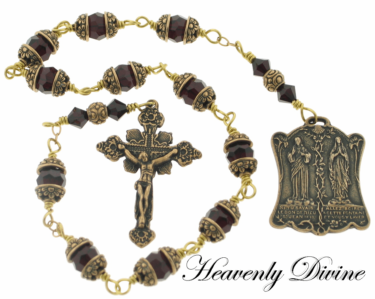 Garnet Swarovski Indulgence Prayer Pocket One Rosary by Heavenly Divine