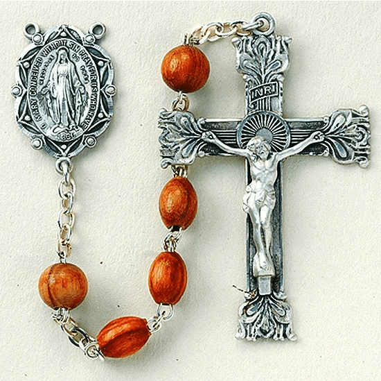 Genuine Rose Wood Oval Sterling Silver Prayer Rosary by HMH Religious