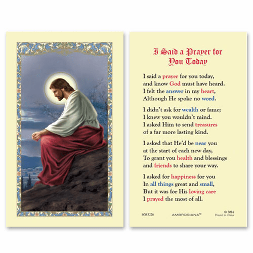 Gerffert Christ in the Garden I Said a Prayer for You Today Holy Prayer Card Set