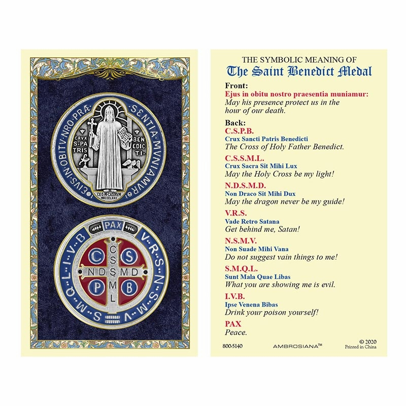 Gerffert Christ Saint Benedict Medal Meaning Laminated Holy Card Set