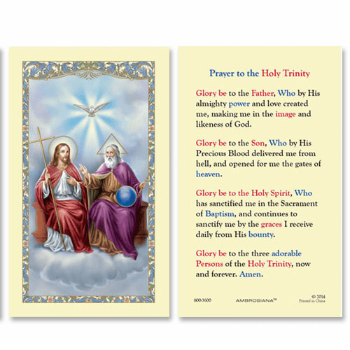 Gerffert Holy Trinity Prayer to the Holy Trinity Holy Card Set