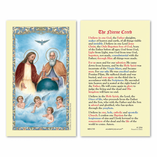 Gerffert Holy Trinity The Nicene Creed Holy Prayer Card Set