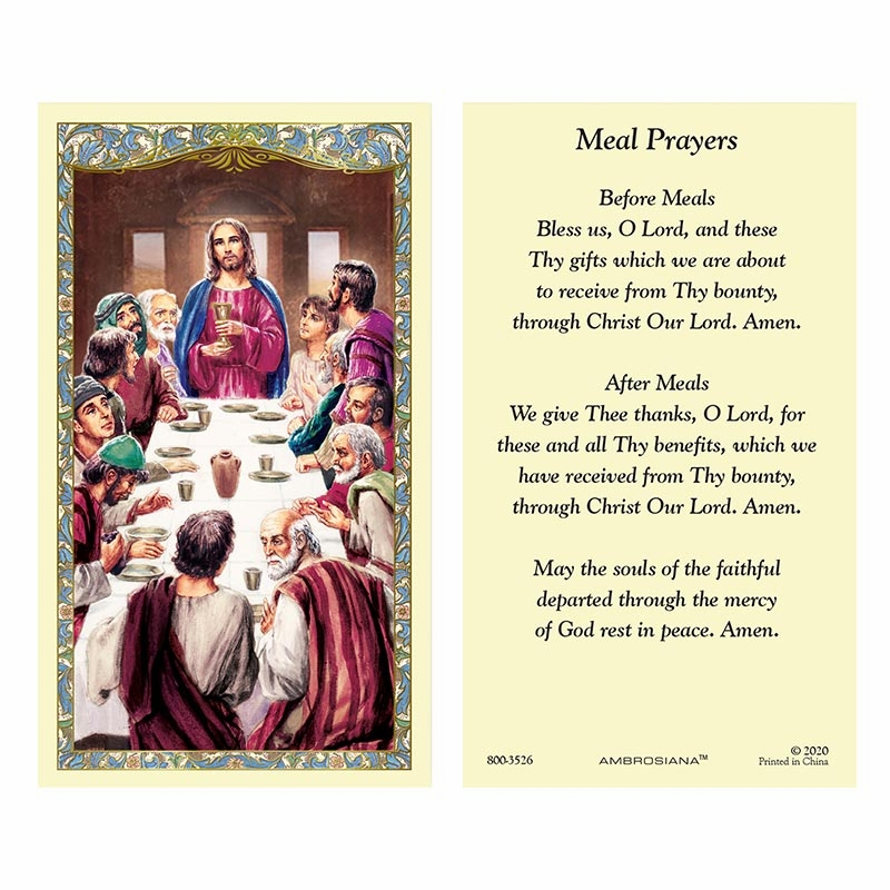 Gerffert Last Supper Prayers for Meals Laminated Holy Card Set