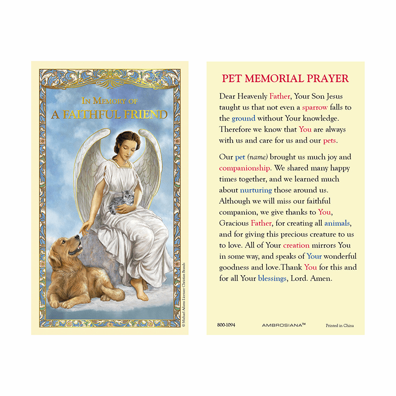 Gerffert Michael Adams Memorial Pet Holy Prayer Card
