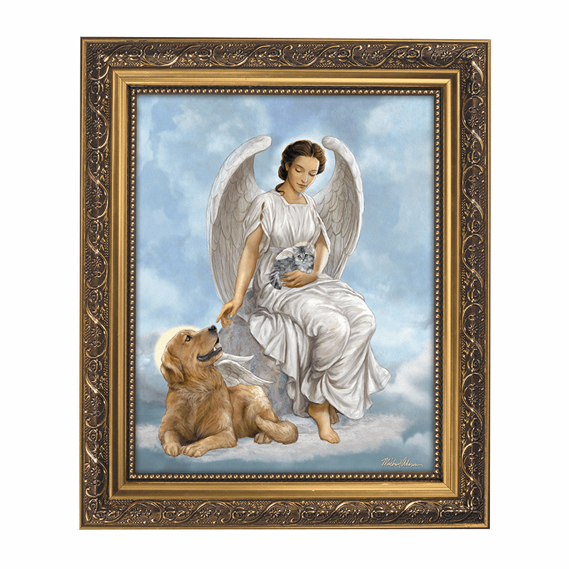 Gerffert Michael Adams My Faithful Friend Angel with Dog Framed Picture