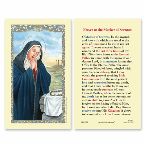 Gerffert Our Lady of Sorrows Prayer Holy Prayer Card Set