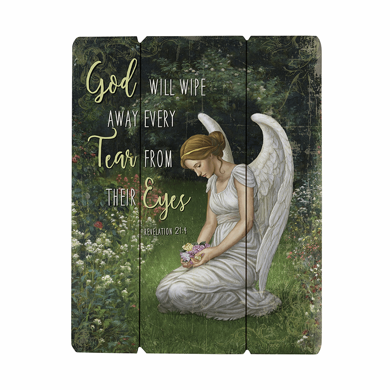 Gerffert Religious Angel Memorial Wood Pallet Sign
