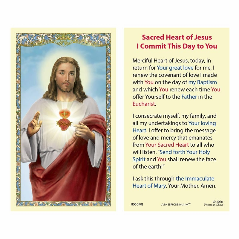 Gerffert Sacred Heart I Commit this Day to You Laminated Holy Card Set