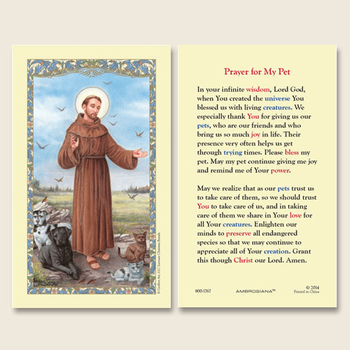 Gerffert Saint Francis of Assisi Prayer for My Pet Holy Card Set