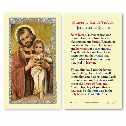 Gerffert Saint Joseph and Child Protector of Homes Holy Prayer Card Set