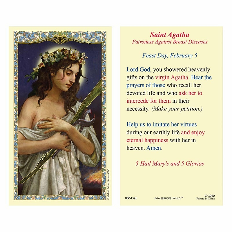 Gerffert St Agatha Patroness Against Breast Diseases Laminated Holy Card Set