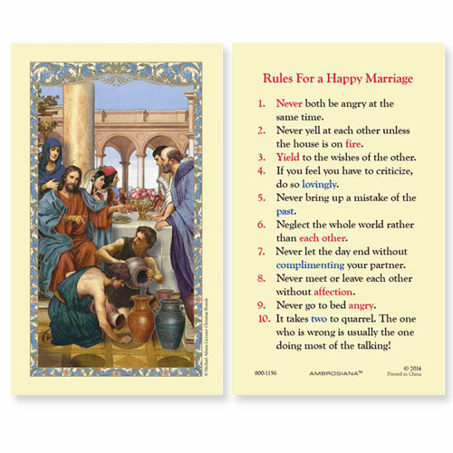 Gerffert Wedding at Cana Rules for a Happy Marriage Holy Prayer Card Set