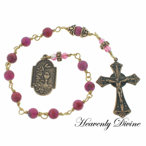 Girl's 1st Holy Communion Pink Crazy Agate and Swarovski Crystal Wire-Wrapped Pocket Rosary