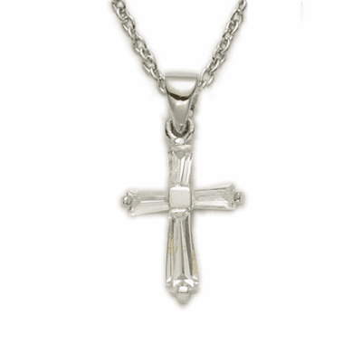 Girl's April Clear Crystal Birthstone Baguette Cross Necklace by Singer