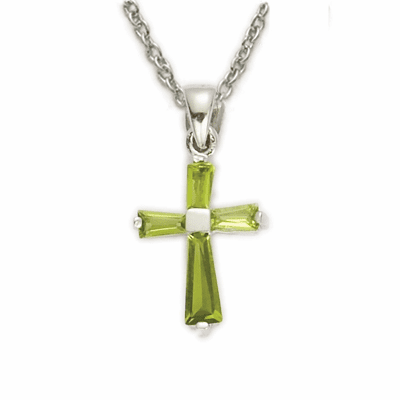 Girl's August Peridot Crystal Birthstone Baguette Cross Necklace by Singer