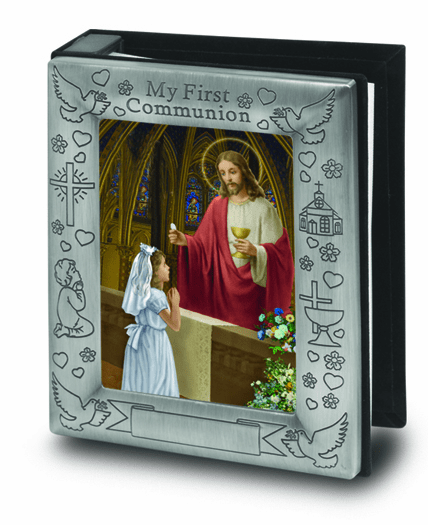 Girl's First Holy Communion Pewter Finish Photo Album