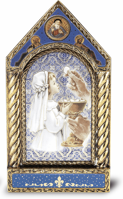 Girl's Gold Leaf First Holy Communion Shrine Plaque