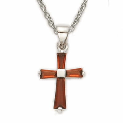 Girl's January Garnet Crystal Birthstone Baguette Cross Necklaces by Singer
