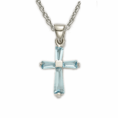 Girl's March Aqua Crystal Birthstone Baguette Cross Necklace by Singer