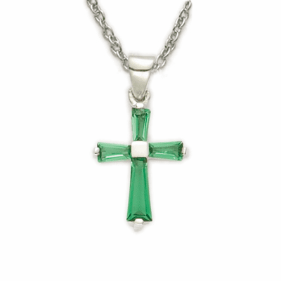 Girl's May Emerald Crystal Birthstone Baguette Cross Necklace by Singer