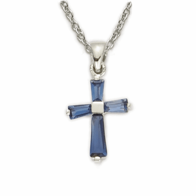 Girl's September Sapphire Crystal Birthstone Baguette Cross Necklace by Singer